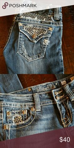 Miss Me Skinny Jeans Good condition Miss Me Skinny Jeans.  Super cute detail on rear and front right pocket.  Missing hardware on rear emblem as seen in first picture. Miss Me Jeans Skinny