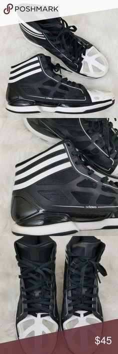 Adidas Adizero Black White Basketball Shoes 13 Men's Black and White Lightweight Adidas Adizero Basketball Shoes. Shoes do have signs of wear. There is some dirt on the side of soles as well as wear on the toe area. There also is a small piece lifting on the side of the sole. Please see all photos. Very light wear on the bottom of soles. Men's Size 13. adidas Shoes Sneakers