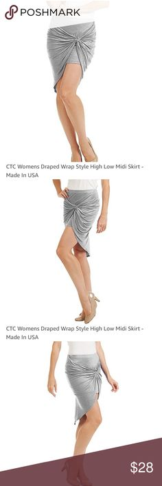 Gray Draped Midi Skirt Coming soon! Light gray draped midi skirt. See product detail for front, back, side view. Stretch cotton fabric make this the perfect simple skirt-toss on a tee and denim jacket and step out into spring! Made in California. CTC Skirts