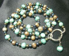 #Aqua #Pearls #Black #Pearls #Golden Pearls #Silver #Necklace by leilahaikonen, $154.95