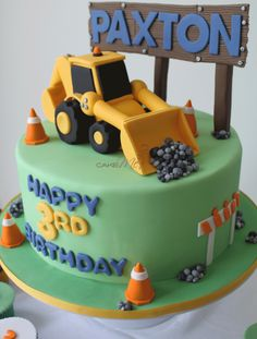 Cake Me! — Front end loader, dump truck, digger, safety, witches hats, construction site fondant toppers www.cakeme.com.au