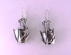 Sterling+Silver+Hanging+Bat+Earrings+by+MetalCoutureJewelry,+$297.00 Reminds me of my roots.