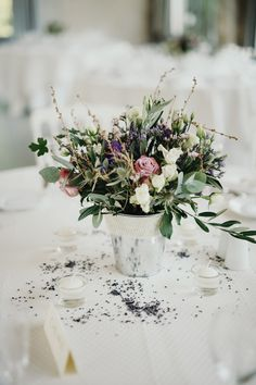 Lavender, White, Pink & Green Foliage Centrepieces | Outdoor Ceremony | Destination Wedding in Provence France | Images by Sebastien Boudot Photographé | http://www.rockmywedding.co.uk/emily-will/