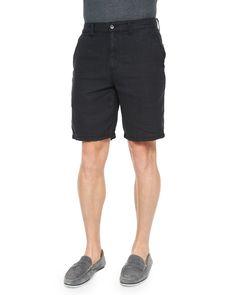 Triple-Needle Woven Linen Shorts, Black, Men's, Size: 30 - John Varvatos Star USA