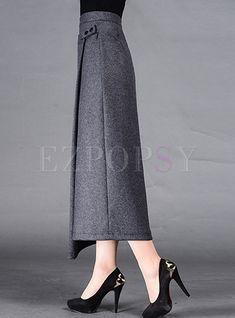 Shop Retro Asymmetric Patch Long Skinny Skirt at EZPOPSY. Skirt Outfits Modest, Midi Skirt Outfit, Cheap Maxi Dresses, Denim Skirt Outfits, Work Fashion, Skirt Fashion, Fashion Outfits, Womens Fashion, Fashion Design