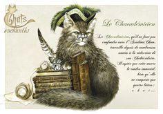 Chatadémicien. Carte Séverine Pineaux. Voir d'autres cartes chats en cliquant 2X.