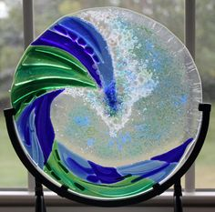 Glass Wave, Fused Glass, Ocean, Sea, Beach, Shoreline, Tides, Blue, Green