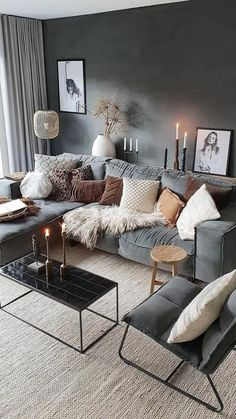 Decor Home Living Room, Living Room Grey, Cozy Living, Living Room Designs, First Apartment Decorating, Home Room Design, Living Room Inspiration, My New Room, House Rooms