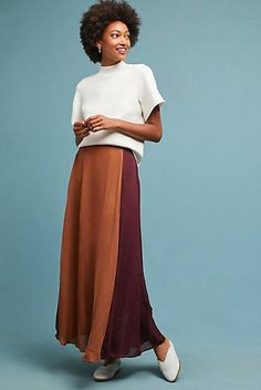 NWT Anthropologie Line + Dot Orange Maroon Burgundy Colorblock Maxi Skirt Large Peasant Skirt, Ankle Length Skirt, Ladies Of London, Skirts With Pockets, Maxis, Boho Dress, Color Blocking, High Waisted Skirt, Two Piece Skirt Set