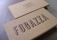 Fugazza Business cards Offset printed on Boxboard 366gsm card.  Designed by Luke Brown