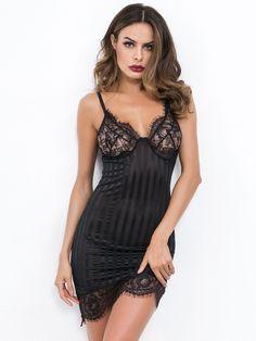 e1aee5921 Women Sexy Slip Plain Sheath Spaghetti Strap Sleeveless Black Short Length  Eyelash Lace Panel Bustier Cami Dress