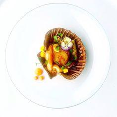 Seared Scallops Prawns And Calamari Mango With Carrot Purée