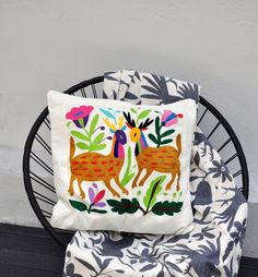 Free Shipping  Hand Embroidered Otomi Pillow Cover  by YucuNinu, $75.00