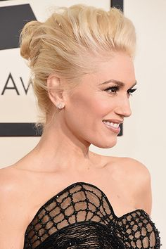 #GwenStefani is rocking this flawless easy chignon #updo One of our favorite tutorials to teach at our #popup events! www.thehairrroomjc.com The Best Celebrity Hair and Beauty Looks of the 2015 Grammy Awards | Daily Makeover