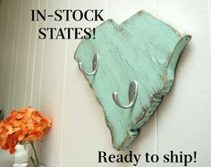 Wood state key hooks  SEE DESCRIPTION for available by OldNewAgain, $25.00