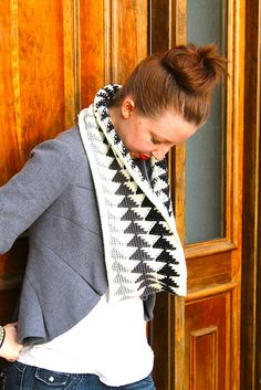 Ravelry: The Triple Triangle Cowl pattern by Sara Dudek..Tapestry Crochet..Very Nice..certainly retains it's shape!