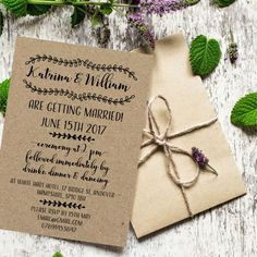 Perfect rustic wedding invites. Cheap can be cute!   10 Things Your Wedding Guests Don't Care About   BloomsPrint   The Wedding Shoppe