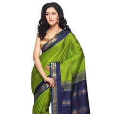 Parrot Green Handloom Pure Kanchipuram Silk Saree with Blouse