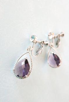 Amethyst Purple Teardrops Clip-on Earrings