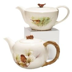 Marjolein Bastin Finch Teapot. A love of nature has always inspired Dutch artist Marjolein Bastin and is apparent in her winsome artwork. The finch teapot features intricate designs on white porcelain with a charming sculptured finial Manufacturer: Demdaco  Country of Origin: China