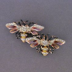 Vintage Sterling Coro Craft Bumble Bee Duette Fur Clip Pin