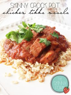 Skinny Crock Pot Chicken Tikka Masala — Super healthy and sooo delicious! Only 164 calories in a serving! MUST MAKE.
