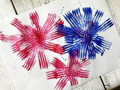Fork Fireworks Craft for the Fourth of July - The Everyday Mom Life Patriotic Party, 4th Of July Party, Fourth Of July, Diwali Activities, Fireworks Craft, 4th Of July Photos, Primary And Secondary Colors, 4th Of July Nails, Teaching Colors