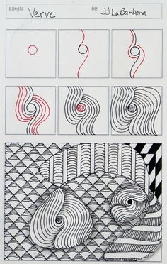 Tinker Tangles: Tangle Pattern: Verve - Zentangle  - doodle - doodling - black and white zentangle patterns. zentangle inspired - #zentangle #doodling #zentangle patterns