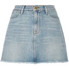 Frame Denim Le High denim mini skirt (1.411.035 IDR) ❤ liked on Polyvore featuring skirts, mini skirts, bottoms, summer skirts, short summer skirts, blue mini skirt, denim skirt and denim button skirt