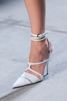 Narciso Rodriguez White Strappy Pumps Spring 2014 #Shoes #Heels #Sandals