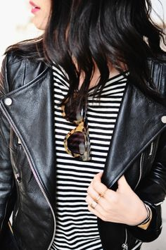 #ShopStyleTip Black and white stripes with leather jacket is always going to be a perfect combo. | Via herimajination.blogspot.com