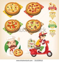 Pizza related pictures: kinds of pizza on the board, logos, italian cook and pizza delivery boy