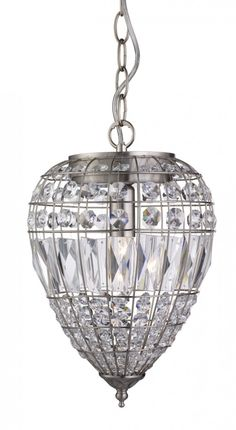 This Satin Silver Pendant Light with Crystal Glass Buttons sparkles beautifully when the light is on. The oval shade features crystal glass spheres and coffins that are positioned in between the sleek satin silver finish frame with a matching satin silver Ceiling, Chandelier, Glass Buttons, Crystal Glass, Glass, Ceiling Pendant, Ceiling Lights, Silver Pendant Lighting, Lights