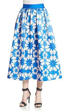 Alice + Olivia   Molina Floral-Print A-Line Skirt   SAKS OFF