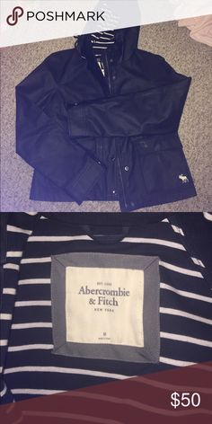 Abercrombie & Fitch Rain Coat This rain coat has been worn twice...not in the rain. It's in perfect condition. Absolutely NO flaws! The colors are Navy Blue and White. Abercrombie & Fitch Jackets & Coats