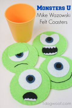 Monsters University Mike Wazowski Felt Coasters Monsters Inc Mike Felt Coasters DIY Simple craft project<br> See how I made these Monsters University Mike Wazowski Felt Coasters for a fun monsters themed Halloween party! Disney Diy, Disney Crafts, Disney Cruise, Felt Coasters, Diy Coasters, Monster University, Halloween Party Themes, Halloween Crafts, Monsters Inc Crafts
