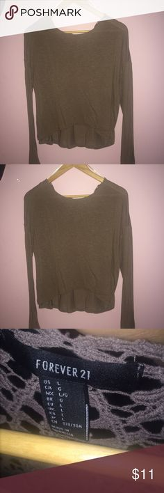 NWOT Forever 21 top long sleeve cropped top, loose fitting, crotchet material in the back Forever 21 Tops Tees - Long Sleeve
