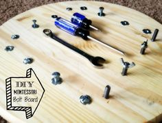 The bolt board will help teach children the practical life skill of using a screw driver, hex screw driver and wrench. This board will also teach hand eye coordination while working on fine motor skills, all while having fun! Montessori Preschool, Montessori Education, Montessori Materials, Teaching Kids, Kids Learning, Montessori Practical Life, Occupational Therapy, Preschool Activities, Preschool Writing