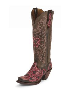 Tony Lama Women's Choco/Pink Hearts And Scroll Cowgirl Boot  http://www.countryoutfitter.com/products/24979-choco-pink-hearts-and-scroll-boot-womens