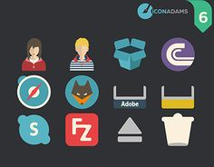 This pack contains 17 iCons Dock, Stacks and Network. Flat Icons, Working On Myself, New Work, Behance, Flats, Gallery, Check, Free, Loafers & Slip Ons