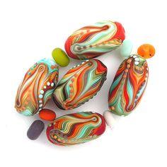 Rainbow Lampwork handmade 5 oval bead set by MichalS on Etsy, $115.00