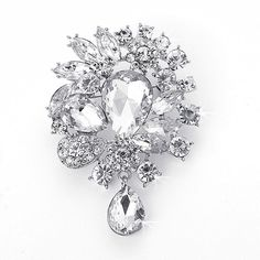 Vintage Inspired Fancy Cuts Crystal Rhinestone Dangle Brooch (Sparkle-1699-U)