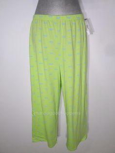 New Womens Charter Club Pajama Pants Green Dragonfly Cropped Cotton Knit XL #CharterClub #LoungePantsSleepShorts #Everyday