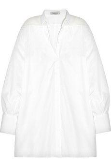 Valentino Oversized silk organza-paneled cotton-poplin shirt   NET-A-PORTER