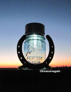 Horseshoe Mason Jar Solar Light™ by treasureagain, with the ORIGINAL Twist-On Solar Lid Design http://etsy.me/ILLGHp
