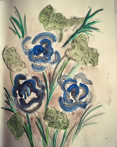Blue & Black Rose Watercolour Painting by NyxStudioArt Rose Watercolour, Watercolour Painting, 2d Art, Nyx, Garden, Artwork, Plants, Blue, Garten