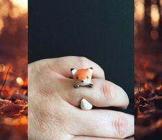 Ooak fox ring, cute fox ring, fox jewelry, statement ring, kawaii ring, fall jewelry, cute rings, adjustable ring, cute fox, autumn jewelry