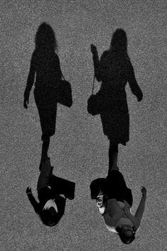 Side By Side by João Coutinho | friendship | walk | sidewalk | shadows | girlfriends | black and white | strut | friends | www.republicofyou.com.au