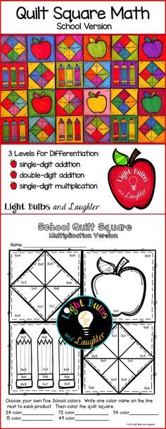 Go back to school with this Quilt Square Math Art Project. Math practice and a beautiful display in the classroom! TpT$