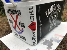 Amazing Crafts, Fun Crafts, Diy And Crafts, Fraternity Coolers, Frat Coolers, Theta Chi, Phi Mu, College Crafts, College Fun